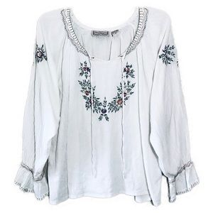 New Directions Floral Embroidered Long Sleeve Top